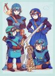 1boy apple axe blue_eyes brown_eyes brown_hair crossed_arms dragon_quest dragon_quest_ii food fruit gloves goggles goggles_on_headwear hands_on_hips indian_style prince_of_lorasia simple_background sitting slime_(dragon_quest) sword weapon yuza