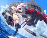 1girl ass bare_shoulders boots breasts brown_eyes camouflage day dazzle_paint detached_sleeves floating_hair grey_hair hair_ornament hairband hairclip haruna_(kantai_collection) headgear highres japanese_clothes kantai_collection kicking large_breasts long_hair looking_at_viewer nontraditional_miko outdoors panties remodel_(kantai_collection) rigging rudder_footwear skirt solo thigh-highs thighs torpedo torpedo_launcher underwear white_panties wind zombie_mogura