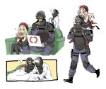 1girl 2boys absurdres beret black_legwear blush carrying closed_eyes coach crossover doc_(rainbow_six_siege) dress eating girls_frontline gloves hat helmet highres labcoat long_hair long_sleeves military_operator mp5_(girls_frontline) multiple_boys open_mouth pantyhose pizza_box pizza_slice rainbow_six_siege red_headwear rook_(rainbow_six_siege) sanso_(kasyawamoti) shoulder_carry simple_background sitting sleeping sleeveless sleeveless_dress spoken_zzz walking white_background white_gloves zzz