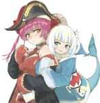 2girls :d alternate_eye_color arm_hug bangs bare_shoulders bicorne black_coat black_headwear blue_eyes blue_hoodie blush breasts brooch coat commentary_request covered_navel eyebrows_visible_through_hair gawr_gura hat hat_feather highres hololive hood hood_down hoodie houshou_marine jewelry large_breasts long_hair long_sleeves looking_at_another looking_back multiple_girls open_mouth pink_hair pirate pirate_hat pleated_skirt polca38885403 red_skirt red_vest shark_girl shark_tail sharp_teeth simple_background skirt sleeves_past_wrists smile tail teeth twintails vest virtual_youtuber white_background white_hair yellow_eyes