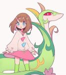 1girl bangs blue_eyes blush blush_stickers brown_hair cardigan clarevoir closed_mouth commentary_request dress flat_chest gen_5_pokemon green_legwear long_sleeves looking_at_another medium_hair open_mouth pink_dress pokemon pokemon_(creature) red_eyes selene_(pokemon) serperior shiny shiny_hair simple_background skindentation standing swept_bangs thigh-highs white_background
