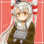 1girl amatsukaze_(kantai_collection) brown_dress cocoperino commentary_request dated dress hair_tubes kantai_collection long_hair red_background rensouhou-kun sailor_collar sailor_dress short_dress silver_hair twitter_username two_side_up white_sailor_collar windsock yellow_eyes