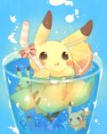 commentary_request drinking_straw foam food fruit gen_1_pokemon glass highres holding_drinking_straw liquid looking_at_viewer no_humans one_eye_closed open_mouth orange orange_slice partially_submerged paws pikachu pokemon pokemon_(creature) red_ribbon ribbon star_(symbol) submerged ushiina