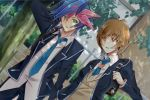 1boy 1girl akisaki arm_behind_head bag brick_wall brown_eyes brown_hair building fence fujiki_yuusaku green_eyes hair_between_eyes highres holding_hands jacket multicolored_hair necktie pocket school_uniform shoulder_bag spiky_hair tree two-tone_hair yu-gi-oh! yu-gi-oh!_vrains zaizen_aoi