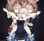 3girls artist_request black_background black_dress character_request clock closed_eyes cowboy_shot crown crystar dress gothic hair_over_one_eye highres ice lifting_another maid maid_headdress mini_crown multiple_girls official_art round_eyewear