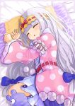 1girl absurdres aurora_sya_lis_kaymin bed blue_bow bow closed_eyes hair_bow highres long_hair long_sleeves lying maou-jou_de_oyasumi omochi_art753 on_bed on_side pajamas pillow polka_dot pom_pom_(clothes) princess silver_hair sleeping stuffed_toy very_long_hair wide_sleeves yellow_headband