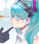 1girl android aqua_eyes aqua_hair bare_shoulders black_gloves cable commentary curious finger_to_another's_chin finger_to_chin gloves hatsune_miku headset heremia highres joints looking_at_another maintenance mechanical_parts pale_skin parted_lips profile robot_joints shirt sketch sleeveless sleeveless_shirt solo_focus syringe twintails vocaloid