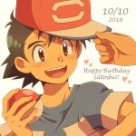 1boy 1other ash_ketchum baseball_cap black_hair brown_eyes commentary cyaneko dated fingernails happy_birthday hat holding holding_poke_ball looking_to_the_side open_mouth poke_ball poke_ball_(basic) pokemon pokemon_(anime) pokemon_sm_(anime) shirt short_sleeves smile t-shirt teeth tongue white_background