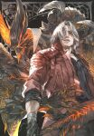 2boys bangs black_gloves black_shirt claws coat cowboy_shot dante_(devil_may_cry) demon demon_horns devil_may_cry_5 devil_sword_dante dual_persona facial_hair fingerless_gloves gloves greatsword grey_eyes hair_over_one_eye highres holding holding_sword holding_weapon horns long_coat looking_away male_focus medium_hair memento1113 multiple_boys open_mouth parted_bangs red_coat red_eyes shirt sin_devil_trigger sleeves_rolled_up standing stubble sword weapon white_hair wings wrist_wrap