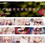 2girls aqua_eyes black_shirt blue_eyes blurry blurry_background braid cevio commentary danjou_sora flower furrowed_eyebrows hair_flaps hands_together jacket kizuna_akari leaf long_hair looking_at_another lyrics multiple_girls multiple_views one_(cevio) open_mouth pink_jacket platinum_blonde_hair production_art red_flower shirt short_hair silver_hair smile song_name tears twin_braids upper_body very_long_hair vocaloid voiceroid white_shirt