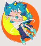 1boy 1girl ;) animal_ear_fluff animal_ears ankle_socks antenna_hair aqua_footwear aqua_hair armpit_peek bangs brother_and_sister cat_boy cat_ears cat_girl cat_tail cheek-to-cheek closed_mouth eye_contact floating full_body grey_background hair_between_eyes hug limited_palette long_hair looking_at_another multicolored multicolored_background niwabuki noshime_ruka one_eye_closed orange_background orange_eyes original outstretched_arm pants satonaka_kei shirt shoe_soles short_sleeves shorts siblings signature smile socks tail tareme white_shirt yellow_background