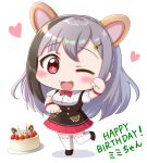 1girl :3 ;d animal_ears birthday_cake black_footwear black_hair blush bow bowtie braid cake chibi extra_ears eyebrows_visible_through_hair food full_body hamster_ears happy_birthday heart highres indie_virtual_youtuber kirara_mimi leg_up looking_at_viewer one_eye_closed open_mouth ririumu simple_background smile solo standing standing_on_one_leg virtual_youtuber white_background