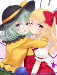 2girls :t aqua_hair black_headwear blonde_hair blue_eyes cheek-to-cheek commentary_request cravat eyebrows_visible_through_hair flandre_scarlet gradient gradient_background green_skirt hair_between_eyes hand_on_another's_back hat hat_ribbon heart heart_of_string hug komeiji_koishi long_sleeves looking_at_viewer multiple_girls no_hat no_headwear one_eye_closed one_side_up open_mouth pink_background puffy_short_sleeves puffy_sleeves red_eyes red_skirt red_vest ribbon shirt short_hair short_sleeves skirt standing third_eye tosakaoil touhou upper_body vest white_background white_shirt wings yellow_neckwear yellow_shirt
