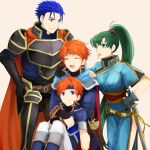 1girl 3boys armor belt black_gloves blue_dress blue_eyes blue_footwear blue_hair boots breastplate brown_belt clenched_teeth closed_eyes dress eliwood_(fire_emblem) father_and_son fingerless_gloves fire_emblem fire_emblem:_fuuin_no_tsurugi fire_emblem:_rekka_no_ken fire_emblem:_the_binding_blade fire_emblem:_the_blazing_blade fire_emblem_6 fire_emblem_7 floating_hair gauntlets gloves green_eyes green_hair hair_ornament hand_on_another's_shoulder hector_(fire_emblem) high_ponytail hug hug_from_behind intelligent_systems knee_boots long_hair lyndis_(fire_emblem) multiple_boys nintendo orange_hair pants pelvic_curtain roy_(fire_emblem) sheath sheathed shoochiku_bai short_hair short_sleeves shoulder_armor side_slit simple_background spaulders standing sweatdrop sword teeth very_long_hair weapon white_background white_pants