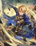 1boy bangs black_gloves blonde_hair blue_cape blue_eyes cape dimitri_alexandre_blaiddyd fire_emblem fire_emblem:_three_houses fire_emblem_cipher garreg_mach_monastery_uniform gloves holding holding_weapon motion_lines nijihayashi official_art polearm serious sheath sheathed short_hair spear sword weapon