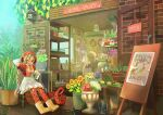 2girls absurdres amazon_tree_boa_(kemono_friends) animal_ears apron back_bow blonde_hair blush bodystocking boots bow braid brown_hair chair character_request drawstring fangs flower flower_shop full_body grey_hair highres hood hood_up hooded_jacket igarashi_(nogiheta) jacket kemono_friends light_brown_hair long_hair long_sleeves medium_hair multicolored_hair multiple_girls nose_blush one_eye_closed open_mouth orange_eyes pantyhose plant rubber_boots shirt shop short_sleeves shorts sign sitting smile snake_tail solo_focus standing sunflower tail twin_braids two-tone_hair very_long_hair
