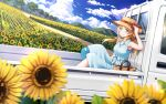 1girl absurdres bag bangs blonde_hair blue_dress blue_eyes blue_sky blurry_foreground closed_mouth clouds commentary_request day dirt_road dress eyebrows_visible_through_hair fence field flatbed_truck flower flower_field ground_vehicle hachimiya_meguru hair_flower hair_ornament hand_on_headwear hat hat_ribbon highres idolmaster idolmaster_shiny_colors looking_at_viewer macha0331 medium_hair motor_vehicle mountain mountainous_horizon official_style one_piece outdoors ribbon road shoulder_bag sitting sky smile solo straw_hat summer sun_hat sundress sunflower sunflower_petals tree truck vehicle wooden_fence