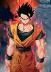 3boys arms_at_sides aura black_eyes black_hair bracer cape closed_mouth dougi dragon_ball dragon_ball_z from_behind looking_at_viewer male_focus mattari_illust multiple_boys muscle piccolo pointy_ears sash smile solo_focus son_gohan son_gokuu spiky_hair standing turban white_cape