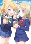 2girls ayase_arisa ayase_eli blazer blonde_hair blue_eyes blue_jacket blue_sailor_collar blue_serafuku blue_shirt blue_skirt bow bowtie bubble_tea collared_shirt commentary_request cup disposable_cup dress_shirt drinking_straw green_neckwear hair_ornament hair_scrunchie heart holding holding_cup jacket kitahara_tomoe_(kitahara_koubou) light_blush long_hair long_sleeves love_live! love_live!_school_idol_project multiple_girls neckerchief open_mouth otonokizaka_school_uniform plaid plaid_skirt pleated_skirt ponytail red_neckwear sailor_collar school_uniform scrunchie serafuku shirt siblings sisters skirt smile speech_bubble spoken_heart twitter_username white_scrunchie white_shirt winter_uniform