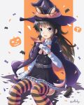 1girl absurdres animal_ears arthur_ko asashio_(kantai_collection) black_cape black_hair blue_eyes cape cat_ears cat_tail dress gloves halloween_costume hat highres huge_filesize kantai_collection long_hair long_sleeves multicolored multicolored_cape multicolored_clothes orange_cape pinafore_dress remodel_(kantai_collection) shirt sitting solo striped striped_legwear tail thigh-highs two-sided_cape two-sided_fabric white_gloves white_shirt witch_costume witch_hat