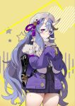 1girl backpack bag beret blush coat coffee_cup commentary cowboy_shot cup disposable_cup eyebrows_visible_through_hair eyelashes hair_between_eyes hat heart holding holding_cup horns long_hair long_sleeves looking_at_viewer mole mole_on_thigh mole_under_mouth nijisanji oni_horns open_clothes open_coat purple_coat purple_hair purple_sweater rindou_mikoto rope scarf seinen simple_background sleeves_past_fingers sleeves_past_wrists solo star_(symbol) star_print sweater thick_eyebrows thighs very_long_hair violet_eyes virtual_youtuber wavy_hair white_headwear white_scarf winter_clothes winter_coat yellow_background