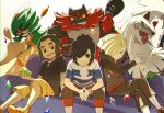 3boys bangs black_hair blonde_hair capri_pants commentary_request couch decidueye ear_piercing elio_(pokemon) fur gen_7_pokemon gladion_(pokemon) green_eyes hair_over_one_eye hands_together hau_(pokemon) holding incineroar interlocked_fingers legendary_pokemon long_sleeves looking_at_viewer multiple_boys natsuno_hamuto pants piercing pokemon pokemon_(creature) pokemon_(game) pokemon_sm shirt short_sleeves sidelocks silvally sitting sparkle tied_hair