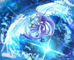 1girl artist_name blue_eyes bow bubble fate/grand_order fate_(series) feathers glowing glowing_weapon hair_bow highres long_hair meltryllis nekobayashi purple_hair smile twitter_username very_long_hair weapon wings