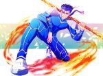 1boy armor blue_hair bodysuit cu_chulainn_(fate)_(all) earrings fate/stay_night fate_(series) fire flaming_weapon full_body gae_bolg grin highres holding holding_weapon jewelry kiriko_(onigiri21) lancer long_hair looking_at_viewer male_focus one_knee pauldrons polearm ponytail red_eyes shoulder_armor skin_tight smile solo spear spiky_hair type-moon weapon