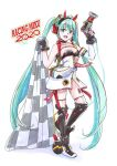 1girl ahoge aqua_eyes aqua_hair black_gloves cable character_name checkered checkered_flag commentary dress fingerless_gloves flag full_body gloves goodsmile_racing gun hair_ornament hands_up hatsune_miku headphones holding holding_flag holding_gun holding_weapon holding_wrench impact_wrench leg_armor long_hair looking_at_viewer mayo_riyo open_mouth pouch racing_miku racing_miku_(2020) see-through sleeveless sleeveless_dress smile smiley_face standing strapless strapless_dress thigh-highs twintails very_long_hair vocaloid weapon white_background white_dress wrench zettai_ryouiki