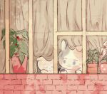 animal animal_focus brick calico cat chromatic_aberration closed_eyes closed_mouth curtains film_grain flower flower_pot head_rest looking_at_another looking_to_the_side moricky muted_color no_humans original plant potted_plant shade sleeping smile window windowsill