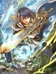1boy alfonse_(fire_emblem) armor bangs blonde_hair blue_eyes blue_hair cape castle fire fire_emblem fire_emblem_cipher fire_emblem_heroes greaves hair_ornament holding holding_sword holding_weapon multicolored_hair nijihayashi official_art open_mouth skyline sword weapon white_cape