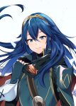 1girl ameno_(a_meno0) blue_eyes blue_hair cute fingerless_gloves fire_emblem fire_emblem:_kakusei fire_emblem_13 fire_emblem_awakening flat_chest gloves intelligent_systems long_hair looking_at_viewer lucina lucina_(fire_emblem) nintendo scarf simple_background smile solo symbol-shaped_pupils tiara white_background