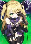 absurdres bare_shoulders black_dress blonde_hair blush bow dress electricity eyepatch fischl_(genshin_impact) fishnets gameplay_mechanics garter_straps genshin_impact gloves grass green_eyes hand_on_own_face highres open_mouth outdoors single_glove single_leg_pantyhose single_thighhigh sitting slime sog-igeobughae surrounded thigh-highs torn_clothes