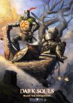 2boys armor artist_name bare_tree breastplate cauldron cliff clouds commentary copyright_name cup dark_souls day full_armor full_body gauntlets greatsword greaves helmet highres holding holding_cup holding_sword holding_weapon knight looking_away male_focus michele_giorgi mug multiple_boys over_shoulder pauldrons plume shield shoulder_armor siegmeyer_of_catarina sitting solaire_of_astora souls_(from_software) steam sun_(symbol) sword tabard tree watermark weapon web_address zweihander