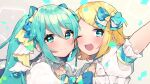 2girls aqua_eyes aqua_hair arm_up bangs blonde_hair blue_bow blue_eyes blush bow bowtie commentary confetti dress forehead-to-forehead frilled_dress frills hair_bow hair_ornament hairclip hatsune_miku highres kagamine_rin long_hair looking_at_viewer multiple_girls one_eye_closed open_mouth outstretched_arm portrait project_sekai sasakura_(npdk7484) short_hair smile swept_bangs twintails vocaloid white_dress