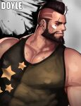 1boy bandaid bandaid_on_face bara bare_arms bear black_eyes black_hair black_tank_top chest covered_abs covered_nipples cyphers damian_doyle_(cyphers) dirty dsharp green_tank_top looking_to_the_side male_focus mohawk muscle short_hair solo tank_top upper_body