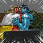 3boys bara beard black_eyes black_hair blonde_hair blue_oni blue_oni_(chijimetaro) blue_skin camouflage_tank_top chijimetaro couple facial_hair giant_male glasses green_tank_top hairy highres horns hug lucky_student_(chijimetaro) male_focus miniboy multiple_boys muscle oni oni_horns original pointy_ears red_oni red_oni_(chijimetaro) red_skin scared shirt short_hair shorts sitting size_difference sketch tank_top thick_thighs thighs white_shirt yellow_shorts