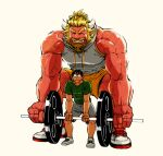 2boys alternate_costume bara bare_arms beard black_hair blonde_hair chest chijimetaro facial_hair full_body giant_male grey_shorts hairy horns lifting lucky_student_(chijimetaro) male_focus miniboy multiple_boys muscle oni oni_horns original pointy_ears red_oni red_oni_(chijimetaro) red_skin short_hair shorts size_difference squatting tank_top thighs weightlifting white_tank_top yellow_shorts