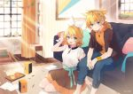 1boy 1girl bangs bass_clef black_shirt black_skirt blonde_hair blue_eyes blue_pants blush bow bracelet candy commentary couch crypton_future_media cup curtains cushion food grin hair_bow hair_ornament hairclip headphones hood hoodie indoors jewelry kagamine_len kagamine_rin looking_at_viewer miniskirt musical_note_necklace necomi official_art open_mouth orange_hoodie painting_(object) pants paper plant potted_plant rug seiza shirt short_hair short_ponytail short_sleeves sitting skirt smile speaker spiky_hair sunlight swept_bangs treble_clef vocaloid white_bow white_shirt window wooden_floor wristband
