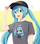 /\/\/\ 1girl aqua_eyes aqua_hair aqua_nails aqua_neckwear artist_self-reference bare_shoulders baseball_cap black_legwear black_sleeves character_print chibi commentary detached_sleeves grey_shirt hair_ornament hairband hat hatsune_miku headphones long_hair looking_at_viewer nail_polish necktie nokuhashi open_mouth outstretched_arms shirt short_sleeves smile solo t-pose t-shirt thigh-highs tsuutenkaku twintails twitter_username upper_body very_long_hair vocaloid