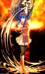 1girl arm_up black_legwear blue_eyes blue_hair boots capelet dress fire fire_emblem fire_emblem:_the_binding_blade full_body hair_between_eyes knee_boots lilina_(fire_emblem) long_hair looking_at_viewer magic pantyhose pleated_dress red_capelet shiny shiny_hair shoochiku_bai short_dress sleeveless sleeveless_dress solo standing very_long_hair white_dress yellow_footwear