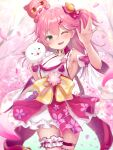 1girl 35p_(sakura_miko) arm_up bangs bare_shoulders bell blurry blurry_background blush breasts cherry_blossom_print commentary_request detached_sleeves eyebrows_visible_through_hair floral_print green_eyes hair_bell hair_between_eyes hair_ornament highres hololive kintoki_(sakura_miko) looking_at_viewer magowasabi medium_breasts nontraditional_miko obi one_eye_closed one_side_up open_mouth petals pink_hair sakura_miko sash sideboob sidelocks thigh_strap virtual_youtuber