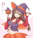 1girl alternate_costume bangs braid bridal_gauntlets brown_hair commentary_request crop_top green_eyes hat icesherbet jack-o'-lantern kantai_collection long_hair midriff navel noshiro_(kantai_collection) orange_sailor_collar orange_skirt purple_headwear purple_shirt sailor_collar shirt skirt sleeveless sleeveless_shirt solo swept_bangs translation_request twin_braids upper_body wand witch_hat