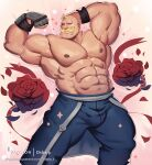 1boy abs alex_louis_armstrong amestris_military_uniform artist_name bald bara blonde_hair bulge chest dsharp facial_hair feet_out_of_frame flexing flower fullmetal_alchemist gauntlets highres male_focus manly military military_uniform muscle mustache navel nipples patreon_username petals pose rose rose_petals shirtless solo sparkle thick_thighs thighs uniform