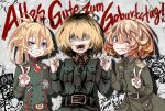 3girls :d ;p ahoge belt blonde_hair breast_pocket graffiti grin hal_(goshujinomocha) holding_hands iron_cross long_sleeves looking_at_viewer military military_uniform multiple_girls multiple_persona one_eye_closed open_mouth pocket short_sleeves smile tanya_degurechaff tongue tongue_out uniform v youjo_senki