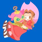 1girl 1other :d ;d bandai blue_background blush_stickers brown_eyes brown_footwear brown_hair commentary_request cute digimon digimon_(creature) digimon_adventure dress fangs green_eyes happy hat hug human long_hair looking_at_another one_eye_closed open_mouth palmon pink_headwear red_dress rizu_(rizunm) shoes simple_background smile tachikawa_mimi toei_animation twitter_username