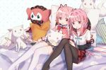 2girls :d animal_print aqua_neckwear aqua_ribbon bangs bear_print bed bed_sheet black_legwear black_skirt blunt_bangs braid breasts cellphone character_pillow charlotte_(madoka_magica) collarbone creature cushion dot_nose earphones eyebrows_visible_through_hair facing_viewer feet_out_of_frame fingernails flat_chest hair_ribbon hand_on_lap hand_rest happy hei_yan-m82a1 high_collar highres holding holding_phone holding_pillow jewelry kamihama_university_affiliated_school_uniform kaname_madoka knees_together_feet_apart kyubey light_blush long_sleeves looking_at_another looking_at_viewer looking_down looking_to_the_side magia_record:_mahou_shoujo_madoka_magica_gaiden mahou_shoujo_madoka_magica mitakihara_school_uniform multiple_girls neck_ribbon no_shoes on_bed open_mouth pantyhose phone pillow pink_eyes pink_hair plaid plaid_skirt pleated_skirt polka_dot red_ribbon red_sailor_collar red_skirt ribbon ring sailor_collar school_uniform shared_earphones shiny shiny_hair short_twintails side-by-side sidelocks simple_background sitting skindentation skirt small_breasts smartphone smile striped tamaki_iroha tareme thigh-highs thighs twintails uniform white_background white_legwear x