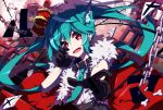 1girl animal_ears aosaki_yato aqua_hair belt_collar black_gloves bone broken_bone cat_ears chain collar commentary crown debris fur-trimmed_jacket fur_trim gloves hatsune_miku highres jacket long_hair looking_at_viewer necktie outstretched_arm paper reaching_out red_background red_eyes sleeveless sleeveless_jacket solo song_name twintails very_long_hair vocaloid x