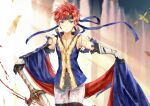 1boy black_gloves blue_eyes collarbone fire_emblem fire_emblem:_the_binding_blade gloves hair_ribbon hand_on_hilt headband looking_at_viewer male_focus pants red_ribbon redhead ribbon roy_(fire_emblem) shiny shiny_hair shoochiku_bai short_hair solo sword thigh_gap torn_clothes weapon white_pants
