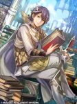 1boy alfonse_(fire_emblem) armor bangs belt blonde_hair blue_eyes blue_hair book boots cape fire_emblem fire_emblem_cipher fire_emblem_heroes hair_ornament holding holding_book multicolored_hair nijihayashi official_art ruins sitting sword weapon white_cape
